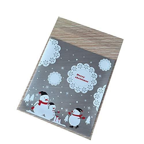 Brussels08 Lot de 100 sacs d'emballage en cellophane pour biscuits de Noël - Auto-adhésifs - En plastique