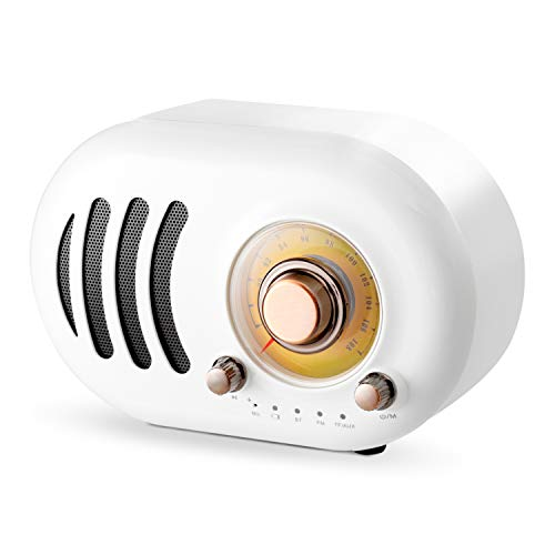Altavoz Bluetooth Retro Vintage Radio FM con estilo clásico antiguo, mejora de graves fuerte, conexión inalámbrica Bluetooth 4.2, volumen alto, tarjeta TF y reproductor de MP3 (blanco)