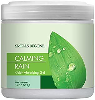 Smells Begone Air Freshener Odor Absorber Gel - Absorbs Odor from Bathrooms, Cars, Pet Areas, Boats and RVs - Made with Natural Essential Oils (15 OZ) (Calming Rain)