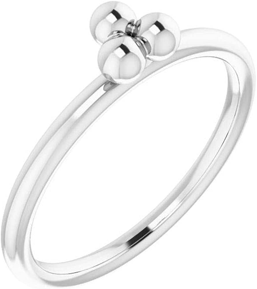 Solid 14k White Gold Stackable Wedding Anniversary Beaded Ring Band (Width = 5mm)