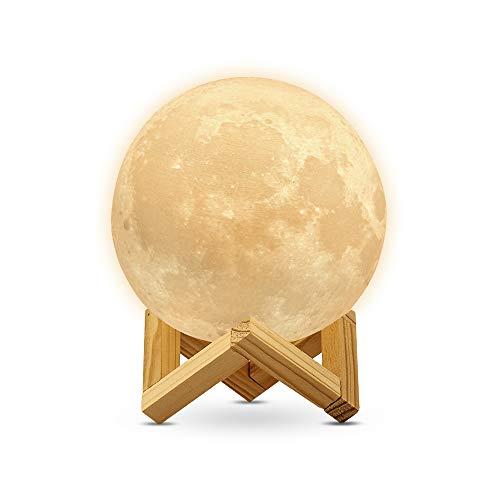 Redlemon Lámpara de Luna 3D, Control Táctil e Intensidad Regulable, 2 Colores de Luz LED, Batería Recargable de Larga Duración. Réplica de la Superficie Lunar, Ideal para Regalar, Grande (18 cm)
