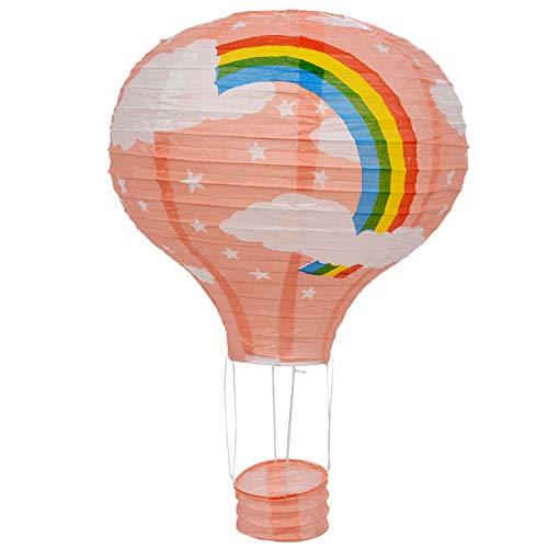 Fltaheroo 12 Pulgada Luz de Techo de Globo de Aire Caliente Pantalla de Luz de Techo Decoración de Banquete de Boda, Arco Iris Rosado
