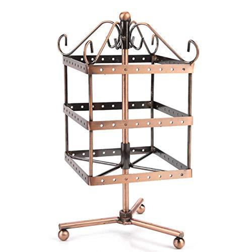 FikaLife Pendiente giratorio de 3 capas de mesa giratoria de 96 agujeros pendiente almacenamiento estante de exhibición de la joyería (bronce)