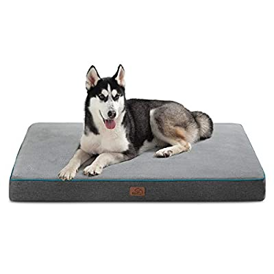 Bedsure Large Memory Foam Dog Bed - Orthopedic Joint Relief Dog Mat with Removable Washable Cover and Waterproof Liner - Plush Flannel Fleece Top with Nonskid Bottom, Pet Bed,Grey