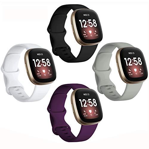 Dirrelo 4 bandas compatibles con Fitbit Versa 3 / Sense, suave TPU correa deportiva reemplazo reloj inteligente pulsera para mujeres hombres accesorios coloridos, grande, negro blanco gris Módena