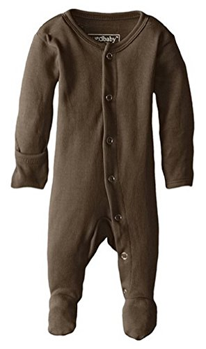 L'ovedbaby Unisex-Baby Organic Cotton Footed Overall, Bark, 3/6 Months