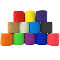 Inksafe Assorted Colour Self Adherent Adhesive Cohesive Bandages 5cm x 4.5m Box of 12 Suitable for Tattoo Grip Wrap, Vet Wrap, Sprains and Swelling to the wrist and ankle Each inksafe cohesive bandage indiviually wrapped CE certified product, Contain...