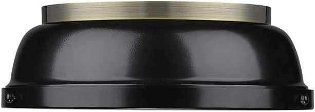 Golden Lighting 3602-14 AB-BK Duncan Flush Mount - Damp, Aged Brass