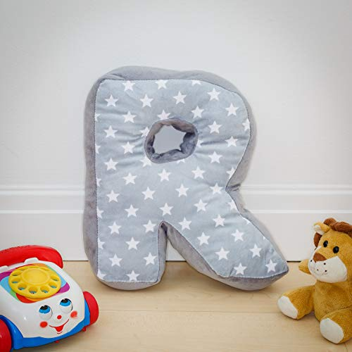 Alphabet Cushion R - Letter Pillow R - Grey Initial Gift Nursery Bedroom