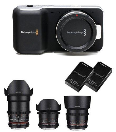 Kit Blackmagic Cinema Camera Pocket + Samyang VDSLR n°3 Ziele 14-35-85mm Weitwinkel +Adapter Ring (EOS I), mit Koffer + 2 Akkus original Blackmagic + 1 Ladegerät Universal Charger UniPal Plus