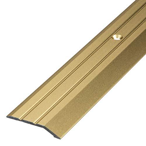 Gedotec Aluminium Übergangsprofil gelocht Abschlussprofil Alu | Fuß-Boden-Leiste höhen-ausgleich | Ausgleichsprofil Messing eloxiert | Abdeckleiste 200 cm | 1 Stück - Übergangsschiene zum Schrauben