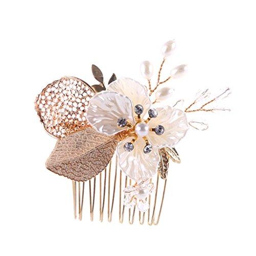 Femme mariée Peigne Doré élégant Fleur Peigne de mariage à la mode mariée Coiffe Peigne accessoire pour cheveux