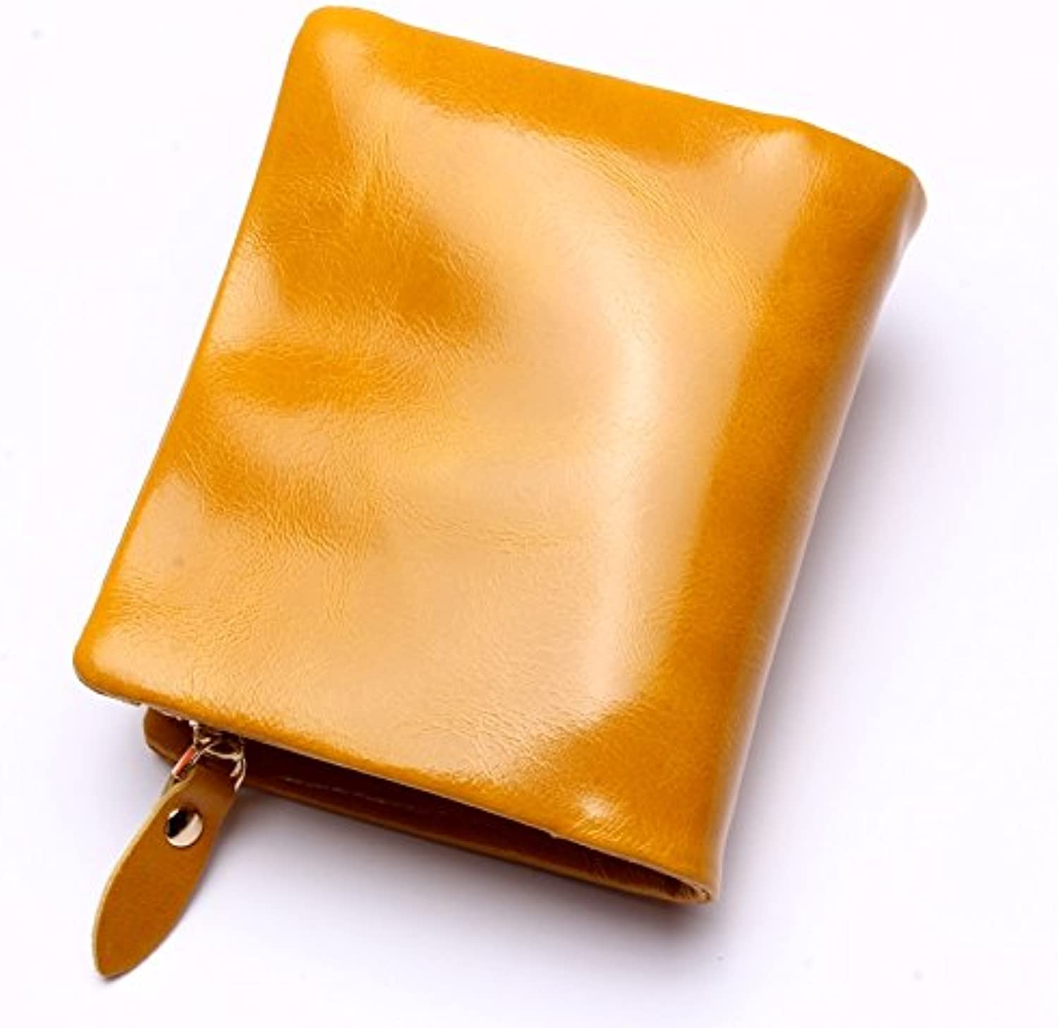 2018 New Zipper Leather Men's Leather Wallet Ladies Clutch Bag Purse Bag (color   Yellow, Size   S)
