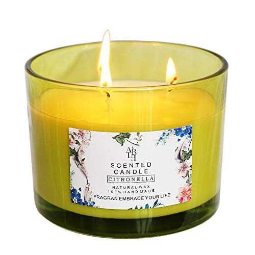 YCYH Citronella Scented Candles Outdoor Indoor Aromatherapy Stress Relief Pure Soy Wax 3-Wick Aromatherapy Candles 80 Hour Burn Long Lasting (14.5 Ounce)