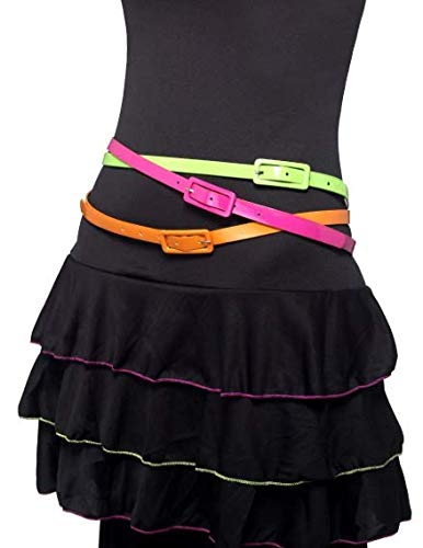 Neon Belts Multipack of 3 80's Style in Pink, Green and Orange