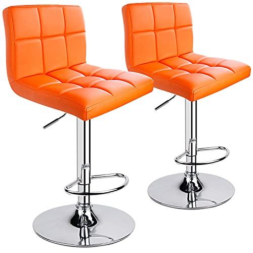 Leopard Bar Stools, Modern PU Leather Adjustable Swivel Bar Stool with Back, Set of 2 (Orange)