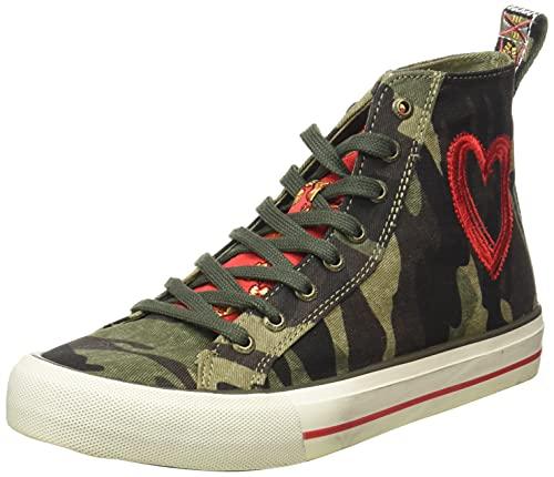 Desigual Shoes_Beta_Militar, Zapatillas Mujer, Verde, 38 EU