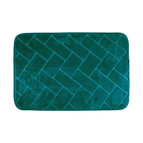 H HANSEL HOME Tapis de Bain en Microfibre antidérapant Extra Doux Tapis de Douche Extra Absorbant Brick Design 40X60cm (Bleu Canard)