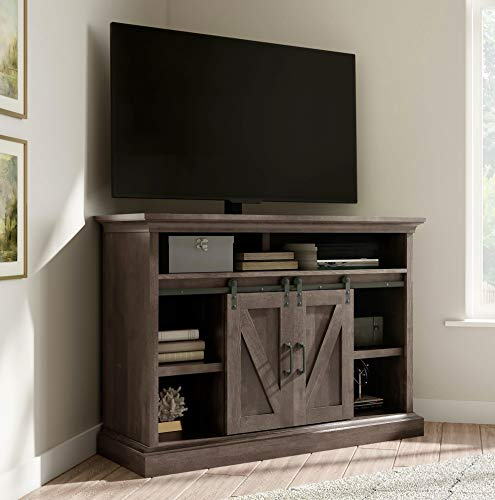 UNIVERSAL LTD Corner TV Stand for 55 INCH TV, Farmhouse TV Stand with Storage Sliding BARN Doors an Adjustable Shelves, Rustic Entertainment Center in Brown Finish