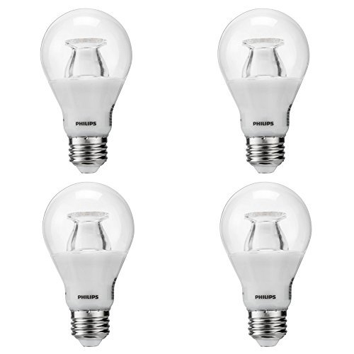Philips LED Dimmable A19 Soft White Light Bulb with Warm Glow Effect: 480-Lumen, 2700-2200-Kelvin, 6-Watt (40-Watt Equivalent), E26 Base, Clear, 4-Pack (Old Generation)