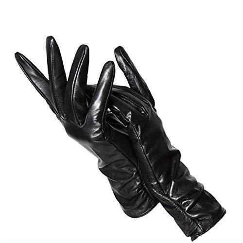 IAMZHL Klassische Plissee Lederhandschuhe Frauen Farbe Handschuhe Frauen Winterhandschuhe Frauen-a53-6.5