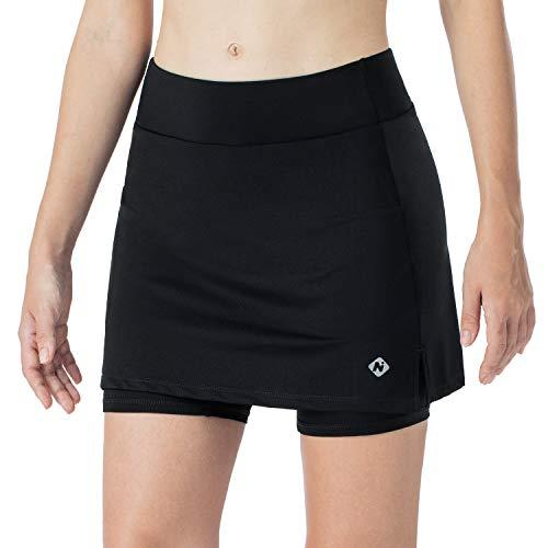 NAVISKIN Damen Tennisrock Ultraleicht Laufrock schnelltrocknend Sportrock stylischer Golfrock Hosenrock weich Skort schmal geschnitten Schwarz Größe S