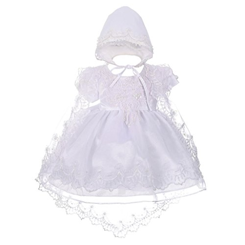 Lito Angels Baby Mädchen Taufkleid Taufanzug Taufe Festlich Kleid mit Hut Perlen Sektor Stickerei 3-6 Monate Weiß