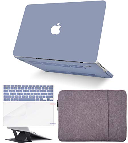 KECC Laptop Case for Old MacBook Pro 13' Retina (2015-) w/Keyboard Cover + Sleeve + Screen Protector + Laptop Stand (5 in 1 Bundle) Plastic Hard Shell Case A1502/A1425 (Lavender Grey)
