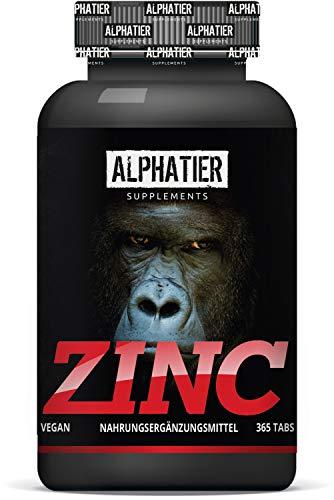 Zinktabletten hochdosiert + vegan - 365 Zink Tabletten 25mg - Zink-Chelat ohne Zusatzstoffe/Magnesiumstearat - Elementar Zinc beliebt bei Akne + Pickeln - Fitness + Bodybuilding