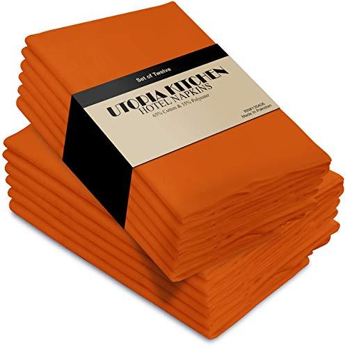 Utopia Kitchen - Baumwolle Abendessen Servietten (12 Pack, 46 x 46 cm) - Weich und bequem - Haltbare Hotelqualität - Ideal für Veranstaltungen und regelmäßige Heimnutzung (Orange)