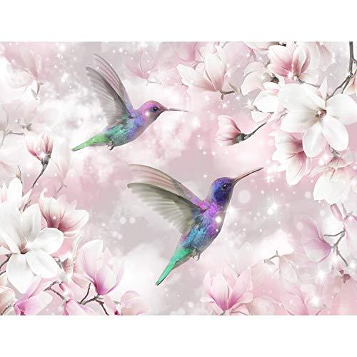Fototapeten 396 x 280 cm Blumen Vögel Kolibri | Vlies Wanddekoration Wohnzimmer Schlafzimmer | Deutsche Manufaktur | Rosa 9406012a