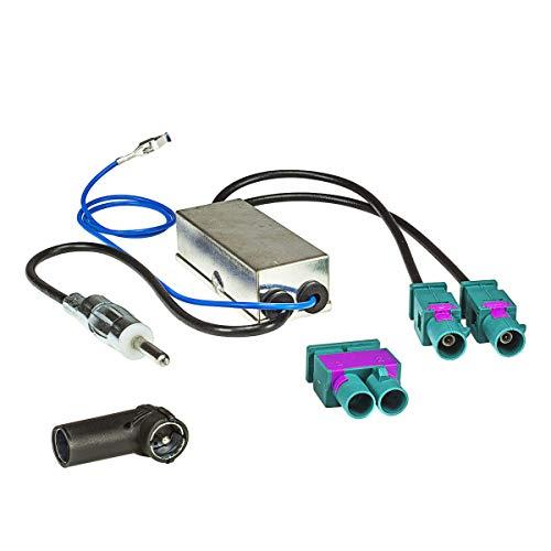 tomzz Audio 1503-005 Doppel Fakra Diversity Antennenadapter mit Phantomeinspeisung kompatibel mit Audi Seat Skoda VW Citroen Peugeot Opel auf DIN oder ISO