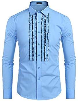 COOFANDY Men s Tuxedo Shirt Slim Fit Ruffle Ruche Frill Dress Shirt Wedding Party Prom Dinner Formal Button Down Shirt Clear Blue