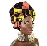 PengGengA Africaine Wax Headwraps Tête Echarpe de Imprimé Motif Africain Turbans Foulard en Coton pour Femmes/Filles (Style#19, 50 * 180cm)