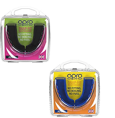 Opro Twin Pack Junior Snap Fit Protector bucal para Rugby, Hockey, Artes Marciales, Boxeo (Azul + Blanco Colores)