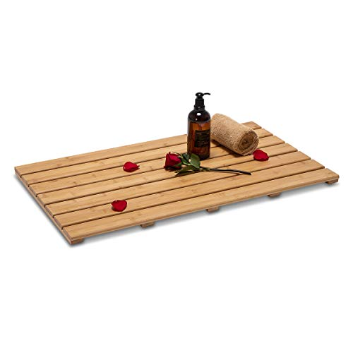 GOBAM Extra Large Bamboo Shower Mat Bath Mat for Bathtub Spa Relaxation, Non-Slip Bathroom Floor Mat for Indoor or Outdoor, 31.5 x 18.35inches