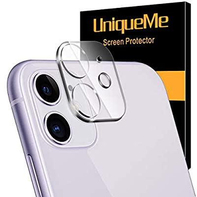 [ 2 Pack] UniqueMe Camera Lens Protector for iPhone 11 Tempered Glass, Easy Install 9H Hardness Bubble Free