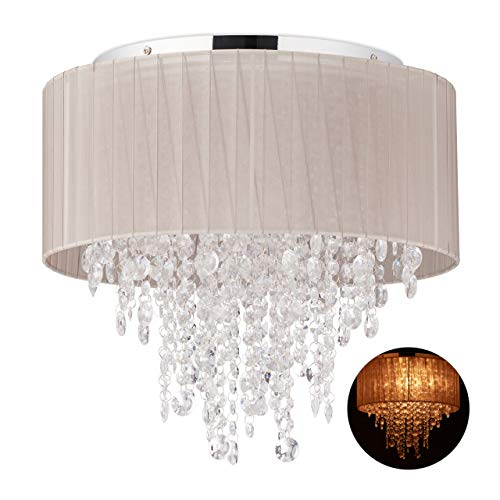 Relaxdays plafondlamp kristal, lampenkap van organza, G9-fitting, 5-spots plafondlamp, 39 x 39,5 cm, grijs/zilver