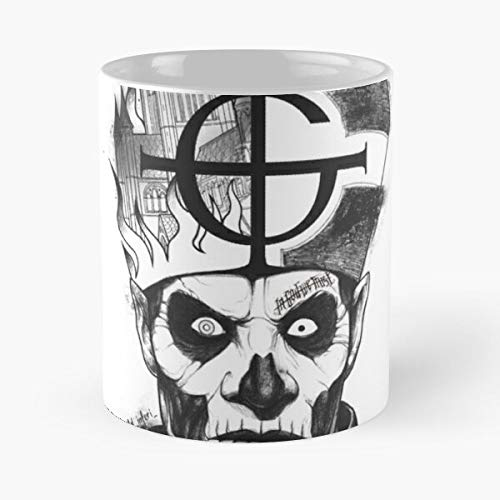 Music II Papa Dark Tattoo Metal Emeritus BC Ghost Skull Heavy La Mejor Taza de café de cerámica Blanca de 11 oz