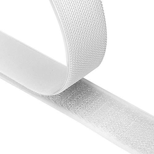 Fesoar Belcro Adhesivo Fuerte 8M Hook y Loop Auto Adhesivo Cinta Rollo Doble Cara, 20 mm de Ancho (Blanco)