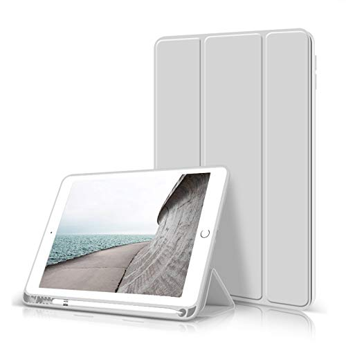 ZOYU iPad 10.2 Case 2020/2019 with Pencil Holder,Slim Lightweight Trifold Stand Smart Shell Soft TPU Back Cover,Auto Sleep/Wake for iPad 10.2 inch 8th&7th Generation(Grey)