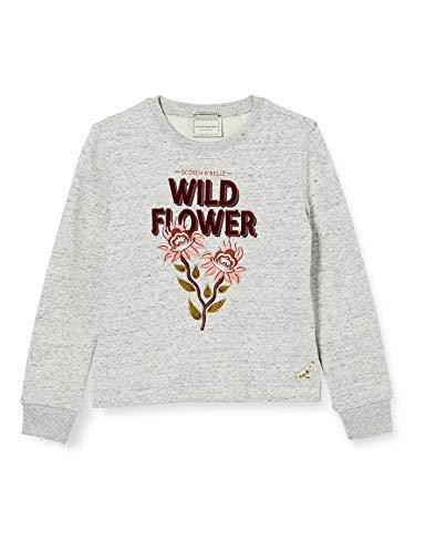 Scotch & Soda R´Belle Girls Sweatshirt mit Rundhalsausschnitt und kombiniertem Artwork Sweater, Grey Melange 0606, 8