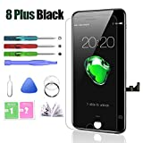 HTECHY Compatible with iPhone 8 Plus Screen Replacement Black(5.5') Display with 3D Touch Screen LCD Digitizer Assembly + Repair Tools Kit Screen Protector