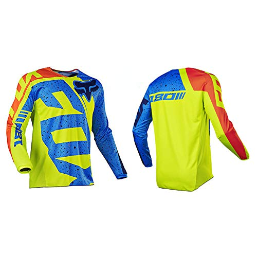 HFJLL Mountain Bike Motocross Jersey Camiseta de Manga Larga - Traje de Descenso al Aire Libre a Prueba de Viento,No.19,L
