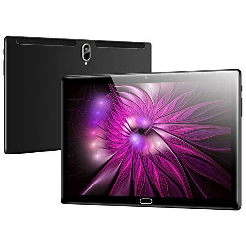 Qimaoo Tablet 10 Zoll Android 10.0, 4G LTE, 4 GB RAM 128 GB ROM, Octa Core Tablets, HD (1280 x 800), Dual SIM/Kameras, 6000mAh Akku, WiFi/Type C/GPS/Bluetooth 4.0 Tablet PC (Schwarz)