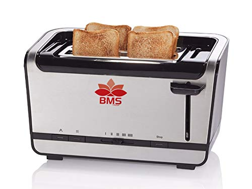 BMS LIFESTYLE Tower Linear Rose Slice Stainless Steel Rib Toaster (Silver CREST)
