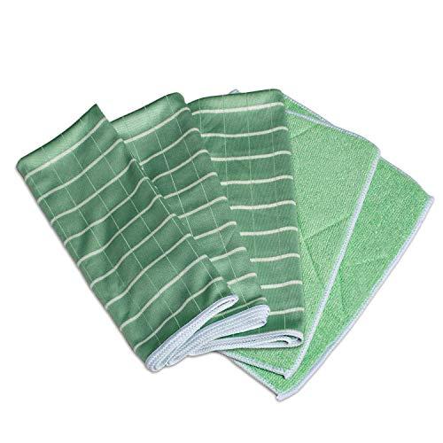 Greenshop24 Geschirrtücher und Reinigungstücher Bambus antibakteriell, 5 Tücher im Set, grün, für Küche und Haushalt, zum Reinigen von Oberflächen, Gläser, Fenster und Spiegel, streifenfreier Glanz