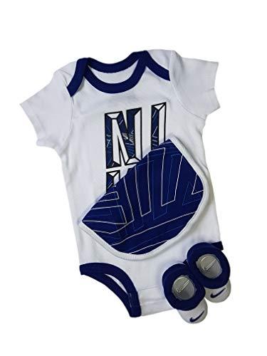 Nike Baby-Set Latz Strampler Socken 3.TLG Boys (White/Blue, 6-12 Monate 70-80 cm)