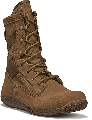 """TACTICAL RESEARCH TR Men's Mini-Mil TR105 8"""" Minimalist Army/Air Force OCP ACU Light Active-Duty Combat Boot - Low Drop, Coyote Brown Cattlehide Leather, Coyote - 11.5 R"""
