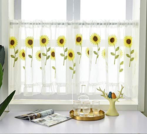 Cortina transparente de girassol bordada para cozinha, janela, cortina transparente para varão com bolso para varão para banheiro, 150 x 61 cm